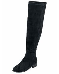 schwarze Overknee Stiefel aus Wildleder von Andrea Conti