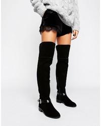 schwarze Overknee Stiefel aus Wildleder von Asos
