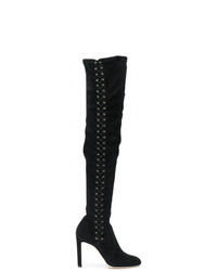 schwarze Overknee Stiefel aus Wildleder von Jimmy Choo