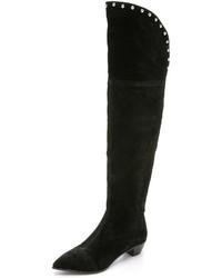 schwarze Overknee Stiefel aus Wildleder von Marc by Marc Jacobs