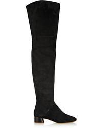 schwarze Overknee Stiefel aus Wildleder von Marc Jacobs