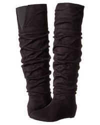 Schwarze Overknee Stiefel aus Wildleder von Michael Antonio