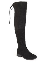 Schwarze Overknee Stiefel aus Wildleder
