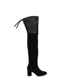 schwarze Overknee Stiefel aus Wildleder von Stuart Weitzman