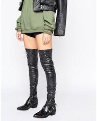 schwarze Overknee Stiefel von Asos
