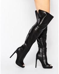schwarze Overknee Stiefel von Missguided