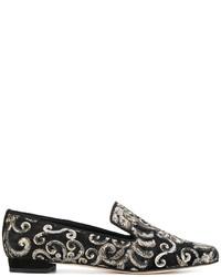 schwarze Pailletten Slipper mit Blumenmuster von Stuart Weitzman