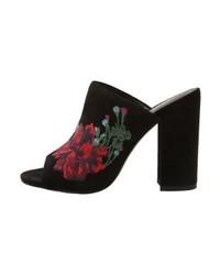 schwarze Pantoletten mit Blumenmuster von Ralph Lauren