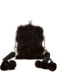 schwarze Pelz Clutch von Alexander McQueen