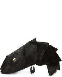 schwarze Pelz Clutch