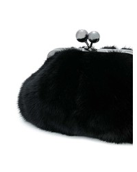 schwarze Pelz Clutch von Weekend Max Mara
