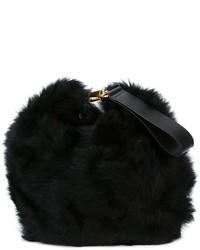 schwarze Pelz Clutch von Simone Rocha