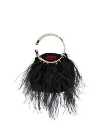 schwarze Pelz Clutch von Valentino