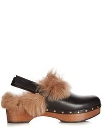 schwarze Pelz Sandaletten
