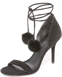 schwarze Pelz Sandaletten von Michael Kors