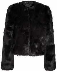 schwarze Pelzjacke von Karl Lagerfeld