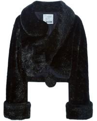 schwarze Pelzjacke von Moschino
