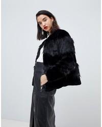 schwarze Pelzjacke von Vero Moda