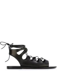 schwarze Römersandalen aus Leder von Ancient Greek Sandals