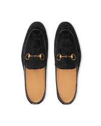 schwarze Samt Slipper von Gucci