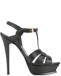 schwarze Sandalen von Saint Laurent
