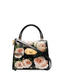 schwarze Satchel-Tasche aus Leder mit Blumenmuster von Dolce & Gabbana