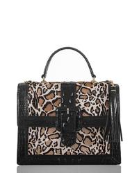 schwarze Satchel-Tasche aus Leder mit Leopardenmuster