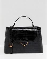 schwarze Satchel-Tasche aus Leder mit Schlangenmuster von ASOS DESIGN