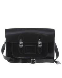 schwarze Satchel-Tasche aus Leder