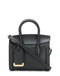 schwarze Satchel-Tasche aus Leder von Alexander McQueen