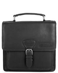 schwarze Satchel-Tasche aus Leder von BAGAN