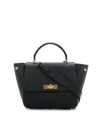 schwarze Satchel-Tasche aus Leder von Bally