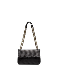 schwarze Satchel-Tasche aus Leder von Bottega Veneta