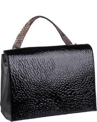 schwarze Satchel-Tasche aus Leder von Bree