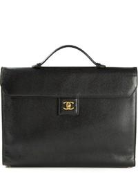 Schwarze Satchel-Tasche aus Leder von Chanel