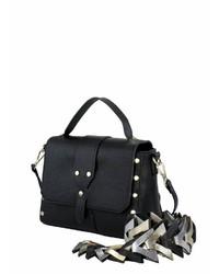 schwarze Satchel-Tasche aus Leder von COLLEZIONE ALESSANDRO