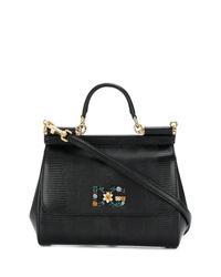 schwarze Satchel-Tasche aus Leder von Dolce & Gabbana