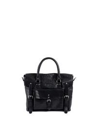 schwarze Satchel-Tasche aus Leder von FEYNSINN