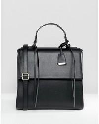 schwarze Satchel-Tasche aus Leder von Glamorous