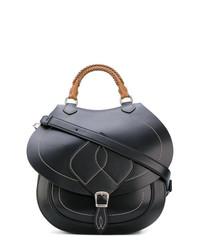 schwarze Satchel-Tasche aus Leder von Maison Margiela