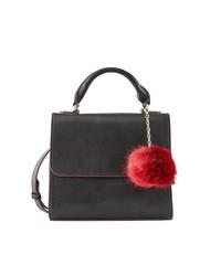 schwarze Satchel-Tasche aus Leder von Pieces