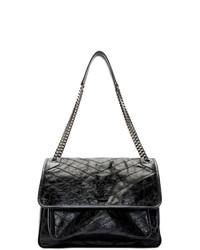 schwarze Satchel-Tasche aus Leder von Saint Laurent