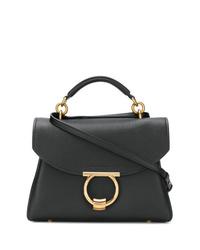 schwarze Satchel-Tasche aus Leder von Salvatore Ferragamo