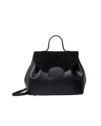 schwarze Satchel-Tasche aus Leder von Usha