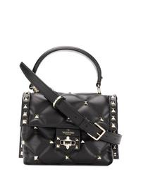 schwarze Satchel-Tasche aus Leder von Valentino
