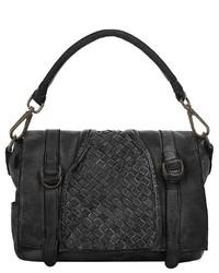 schwarze Satchel-Tasche aus Leder von X-ZONE