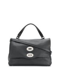 schwarze Satchel-Tasche aus Leder von Zanellato