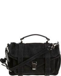 schwarze Satchel-Tasche aus Wildleder