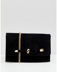 schwarze Satchel-Tasche aus Wildleder von Carvela