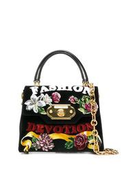 schwarze Satchel-Tasche aus Wildleder von Dolce & Gabbana
